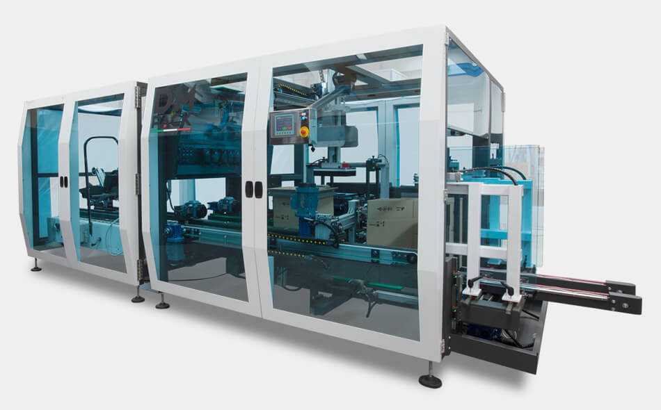 DM Pack, end of line packaging, end of line, line packaging, DOM, verticle, vertical, carton erector
